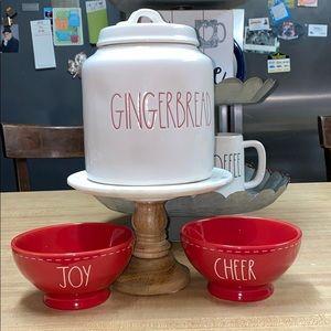 Rae Dunn Gingerbread canister & 2 bowls JOY,CHEER